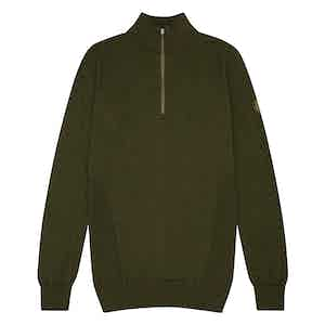 Green Merino Wool Zipped Marston Sweater