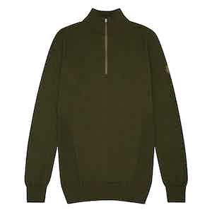 Green Merino Wool Zipped Marston Sweater