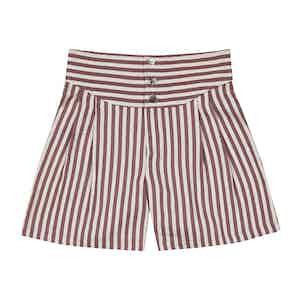 Bordeaux Striped Silk-Linen Boxing Pants