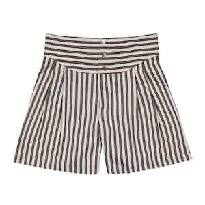Brown Striped Silk-Linen Boxing Pants