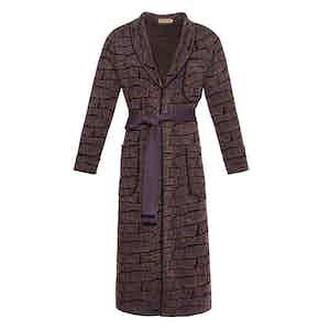 Purple Trellis Pattern Serie-Knit Astley Dressing Gown