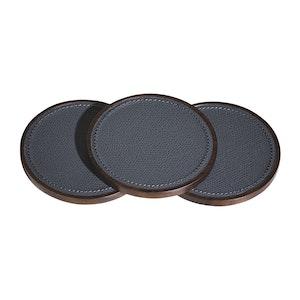 Grey Reversible Leather and Walnut Evolution Coaster Set
