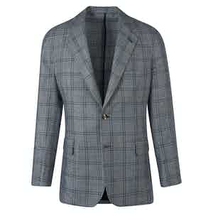 Blue and Grey Check Wool Single-Breasted Jacket