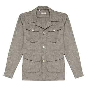 Brown Wool Micro-Houndstooth Safari Jacket