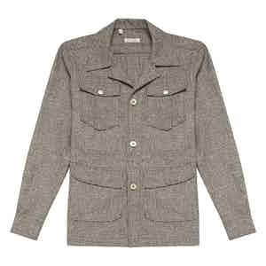 Brown Wool Micro-Houndstooth Safari Jacket