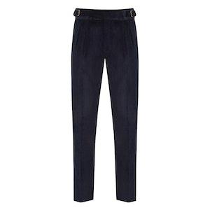Navy Corduroy Gurkha Style Six Trousers