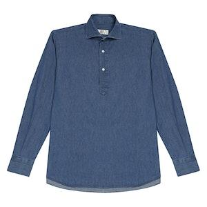 Light Blue Denim Cotton Popover Shirt