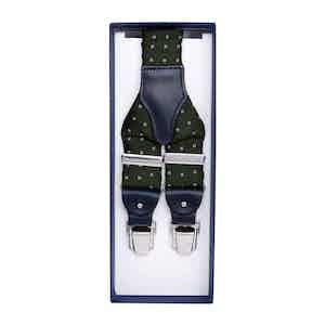 Dark Green Polka Dot Silk Jacquard Suspenders
