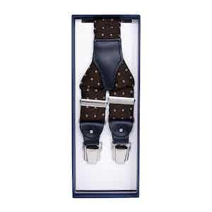 Brown Polka Dot Silk Jacquard Suspenders