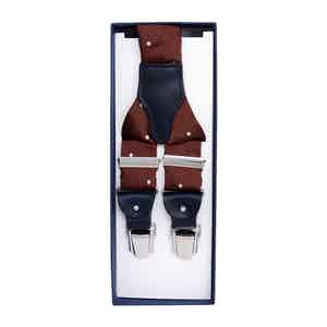 Mahogany Polka Dot Silk Jacquard Suspenders