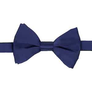 Navy Blue Silk-Satin Bow Tie