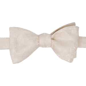 White Patterned Silk Jacquard Self-Tie Bow Tie