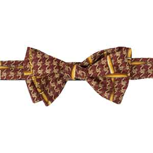 Red and Gold Pattern Silk Self-Tie Bow Tie