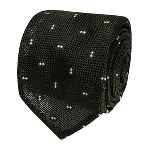 Green and White Dotted Silk Grenadine Tie