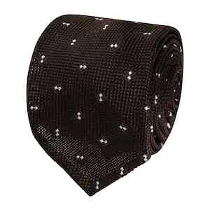 Spotted Brown Silk Grenadine Tie