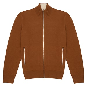 Beige and Brown Vicuña Cashmere Zipped Cardigan