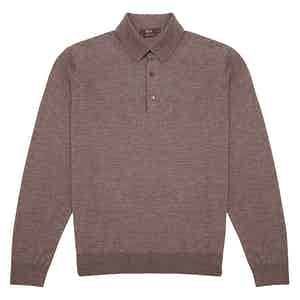 Brown Long-Sleeved Cashmere-Silk Polo Shirt
