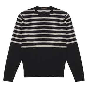 Grey Striped Navy Cotton Crew Neck Sweater