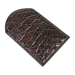 Brown Two-Tone Genuine Crocodile Cardholder