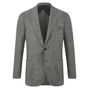Grey and Black Cashmere Blend Single-Breasted Jacket