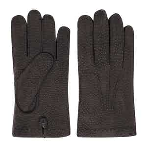 Cashmere-Lined Brown Carpincho Gloves Gianni