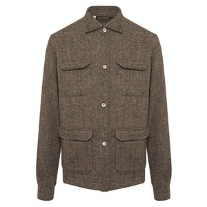 Brown Wool Barleycorn Tweed Overshirt