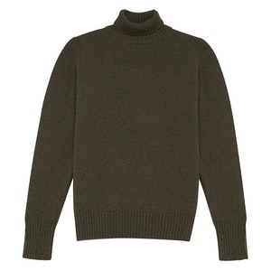 Green 4-Ply Cashmere Turtleneck Sweater