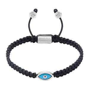 Blue and Silver Evil Eye Black Macramé Braid Bracelet