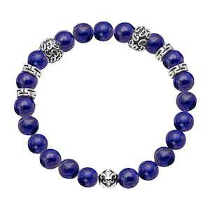 Blue Lapis and Silver Beaded Bracelet