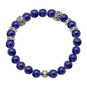 Blue Lapis and Silver Beaded Bracelet