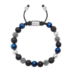 Onyx, Blue Tiger Eye, Lava Stone and Silver Bracelet