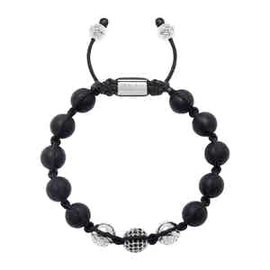 Matte Onyx, CZ Diamonds and Silver Beaded Bracelet