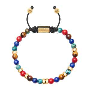 Red Vintage Trifocal Beads, Blue Lapis, Bali Turquoise Bracelet