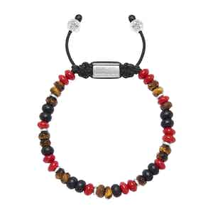 Red Coral, Brown Tiger Eye and Matte Onyx Beaded Bracelet