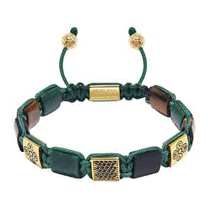 Green African Jade, Matte Onyx and Tiger Eye Beaded Bracelet