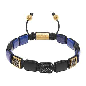 Blue Lapis, Matte Onyx and Gold Beaded Bracelet