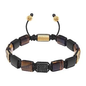 Brown Tiger Eye and Matte Onyx Beaded Bracelet