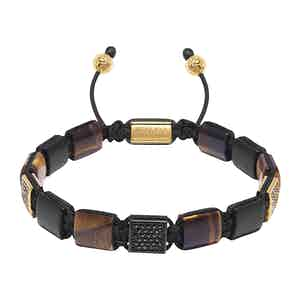 Brown Tiger Eye and Matte Onyx Beaded Bracelet