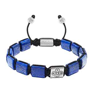 Blue Lapis Bead, Dorje Flatbead and Stainless Steel Bracelet