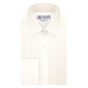 Cream Pleated Front Silk Dress Shirt