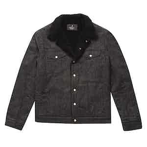 Black Corduroy Pinstripe Shearling-Lined Bud Trucker Jacket