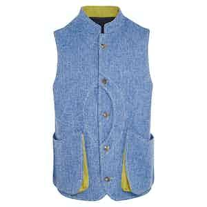 Light Blue and Chartreuse Herringbone Wool Gilet
