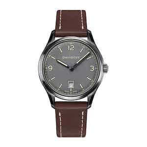 Grey Essentials No.1 Watch with Cognac Leather Strap