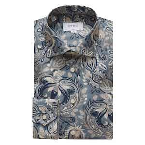 Blue Bold Paisley Print Slim Cotton Shirt