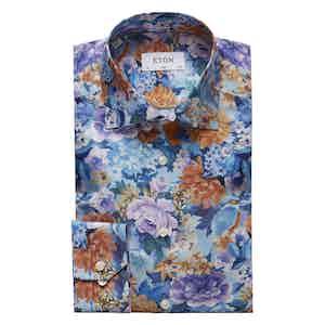 Blue Floral and Bird Print Cotton-Tencel Shirt