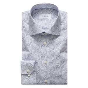 Sky Blue Paisley Cotton Poplin Shirt