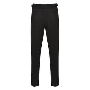 Black Wool Flannel Western Gurkha Trousers