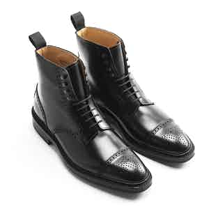 Black Calf Leather Toby Brogue Boots