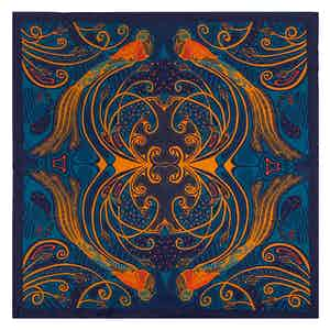 Gold and Blue Silk Quetzal Pocket Square