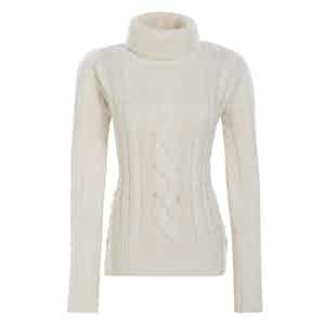 Ivory Merino-Cashmere Blend Classic Cable-Knit Sweater